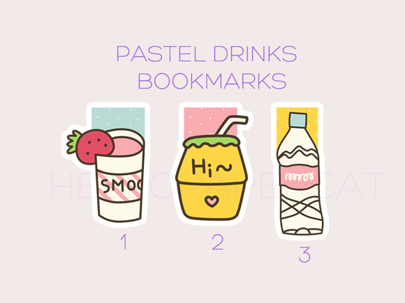 Pastel Drinks magnetic bookmarks