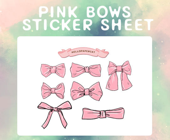 pink bow sticker sheet