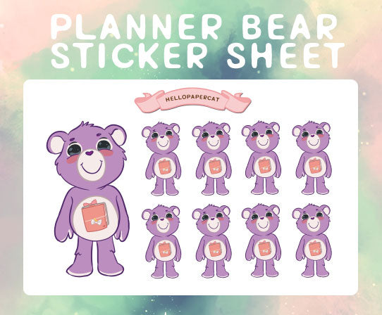 Planner Bear sticker sheet