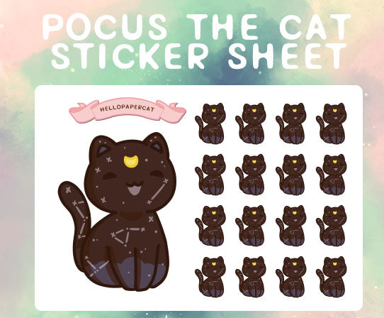 Pocus the cat sticker sheet