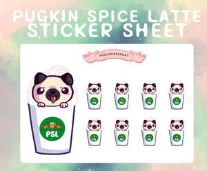 Pugkin Spice Latte sticker sheet