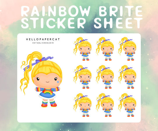 Rainbow Girl sticker sheet