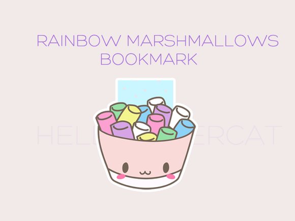 Rainbow Marshmallow magnetic bookmark