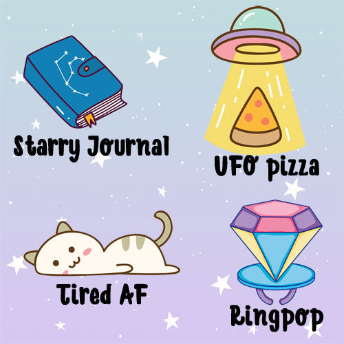 Starry Journa, Ufo, Tired AF, Ringpop die cuts