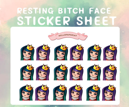 Resting bitch face sticker sheet