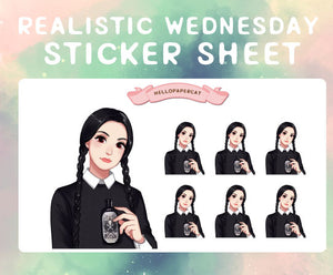 Realistic Wednesday sticker sheet