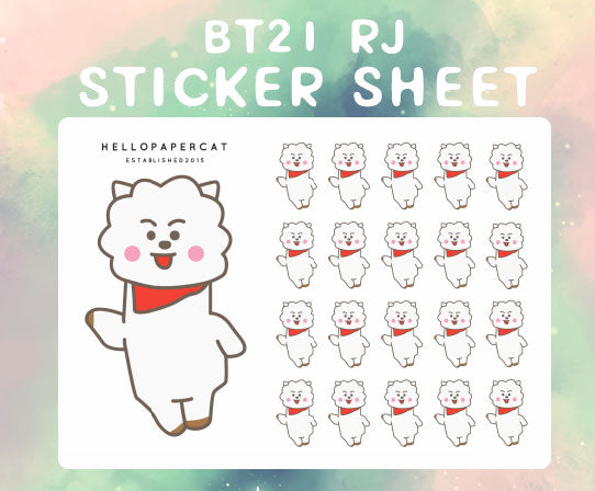 RJ sticker sheet