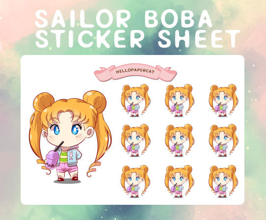 Sailor Boba sticker sheet
