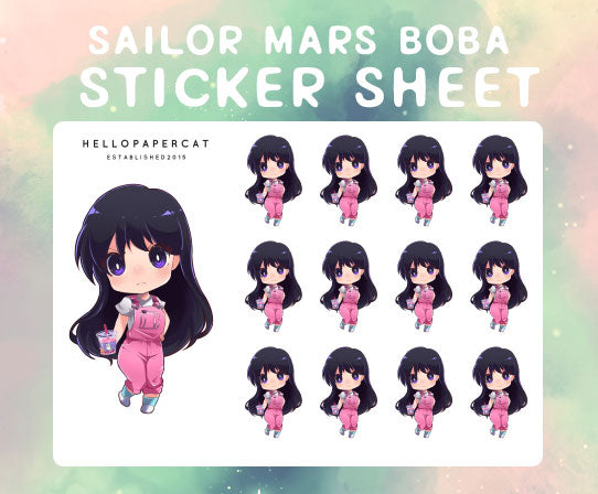 Sailor Mars Boba sticker sheet