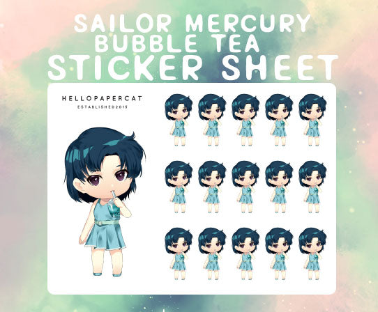 Sailor Mercury Boba sticker sheet
