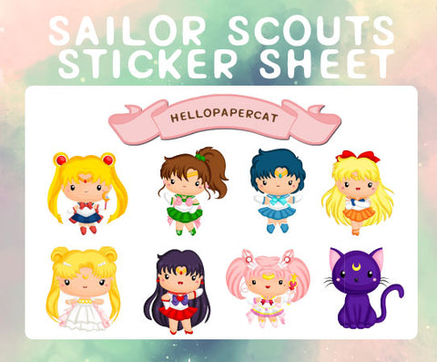 Sailor Scouts sticker sheet