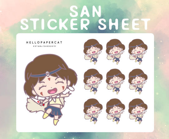 San inspired sticker sheet