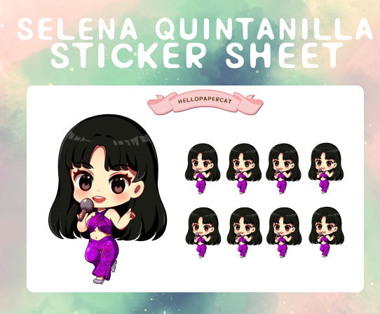 Selena Quintanilla sticker sheet
