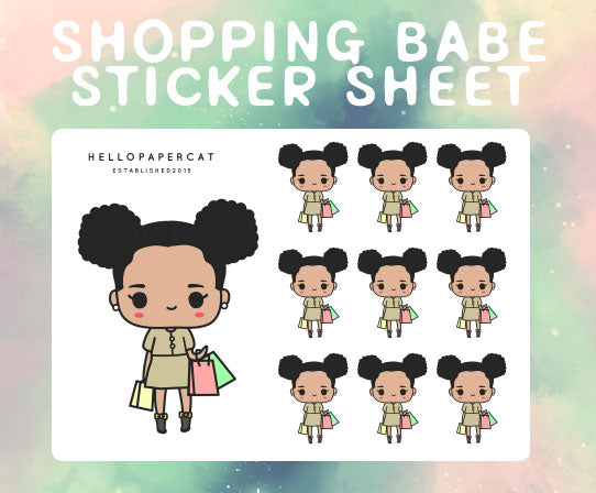 Shopping Babe sticker sheet