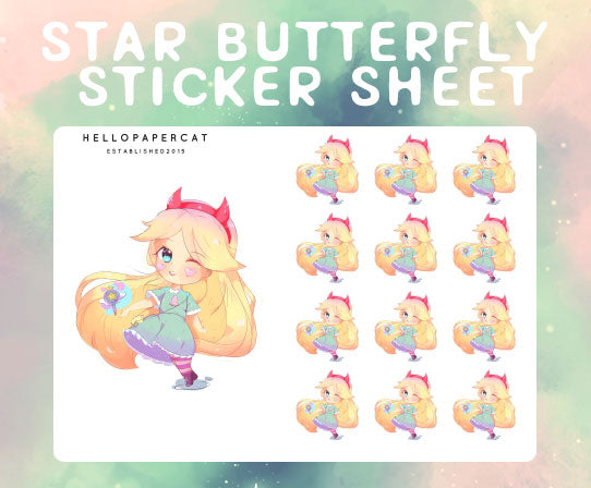Star Butterfly sticker sheet