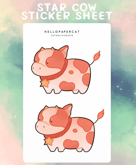Star Cow sticker sheet