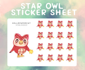 Star Owl sticker sheet