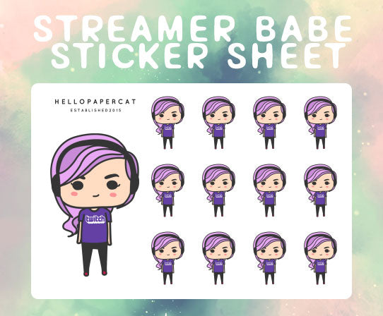 Streamer Babe sticker sheet