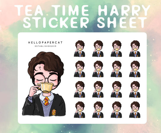 Tea Time Harry sticker sheet