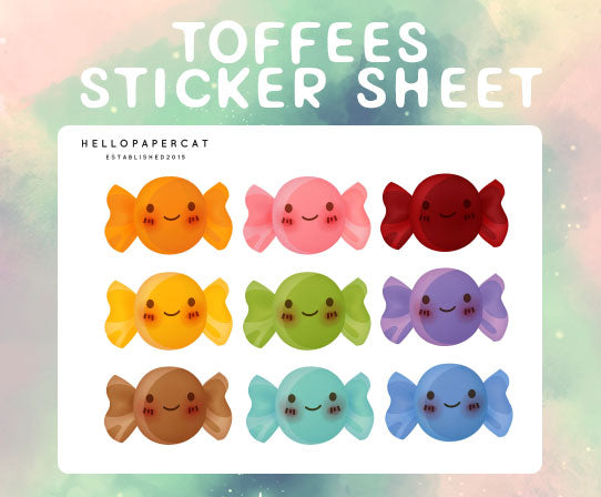 Toffee sticker sheet