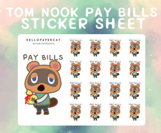 Pay Bills sticker sheet