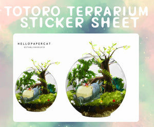 Totoro Terrarium sticker sheet
