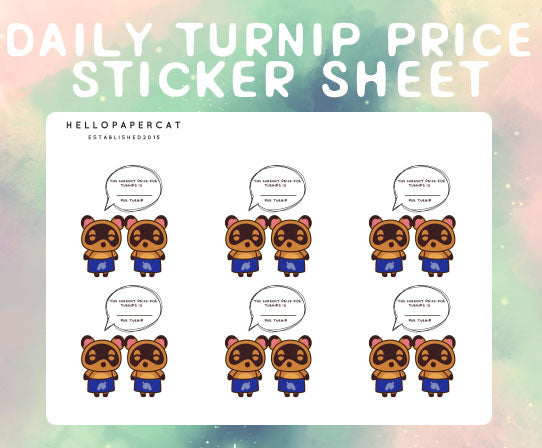 Daily Turnip Prices sticker sheet