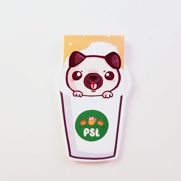 Pugkinspice latte magnetic bookmark