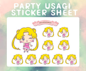 Pink party dress Usagi sticker sheet