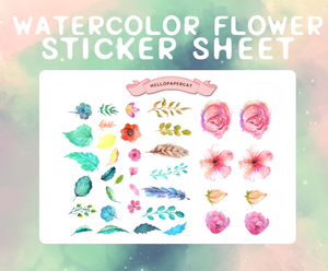 watercolor flowers deco sticker sheet