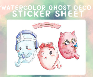 Watercolor Ghosts Deco sticker sheet
