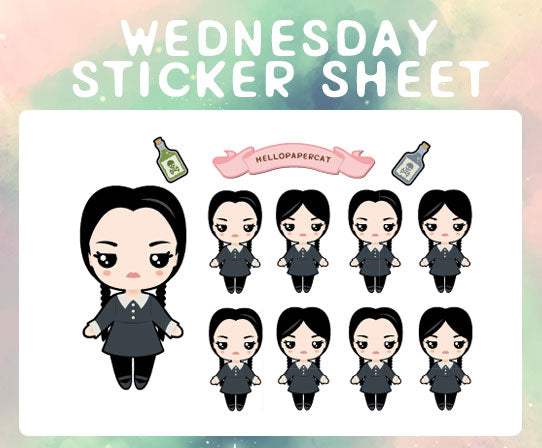 Wednesday sticker sheet