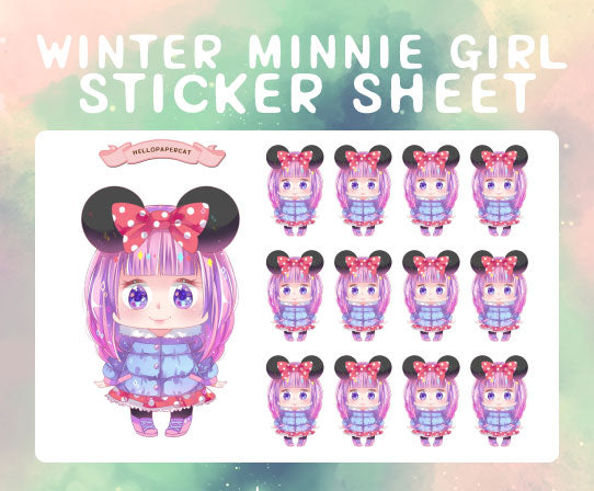 Winter Minnie girl sticker sheet