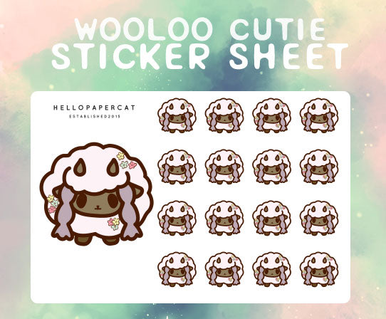 Wooloo cutie sticker sheet