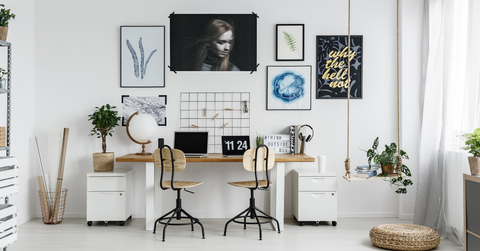 Office Space with Wall Art