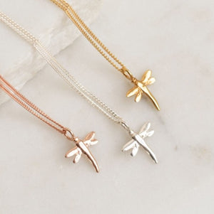 Rose Gold Dragonfly Necklace