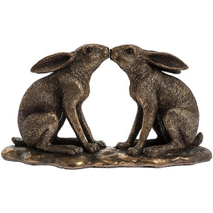 Reflections Bronze Hares Kissing