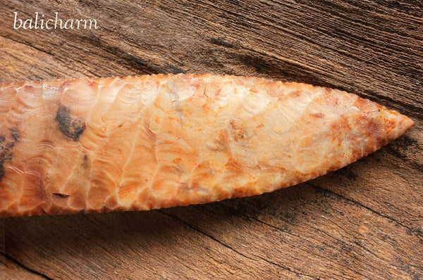 Antique chert-bladed dagger with handle carved from mammoth tusk