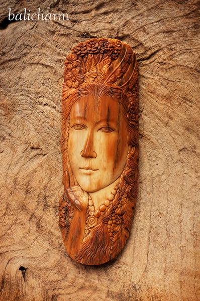Female keepsake representative of 1840's New England whalers' carvings, carved from ancient mammoth ivory