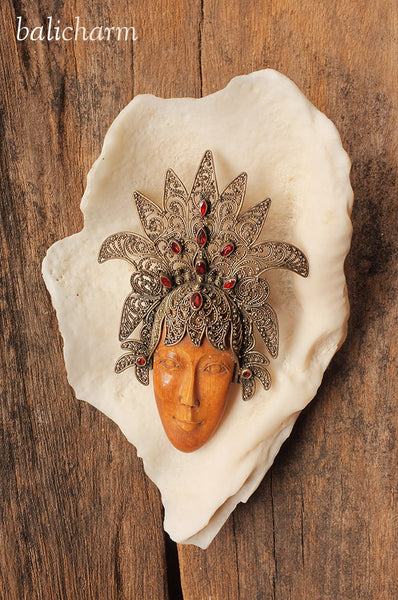 Traditional Balinese headdress made from 925 sterling silver with female face carved from ancient mammoth tusk