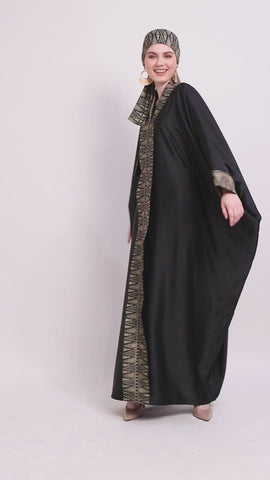 Kanzi Long Sleeve Black Tapis Kaftan