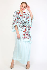 Kanzi Light Blue Dress Batik Kaftan
