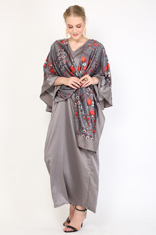 Kanzi Grey Dress Batik Kaftan