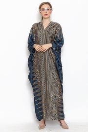 Kanzi Long Sleeve Songket Kaftan Navy Blue