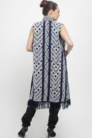 Handwoven Ikat Vest with fringes