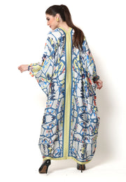Kanzi Long Sleeve Abstract Kaftan