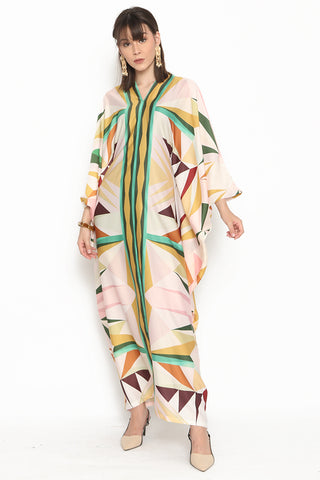 Kanzi Long Sleeve Pink Geometric Kaftan