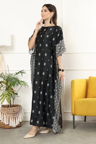 Kanzi Short Sleeve Songket Kaftan Black