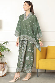 Kanzi Songket Sarong V-neck Set Army