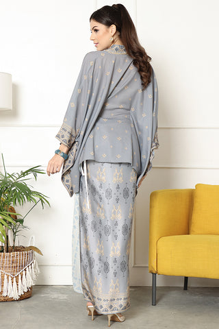 Kanzi  Songket Kebaya Belt Sarong Set Grey